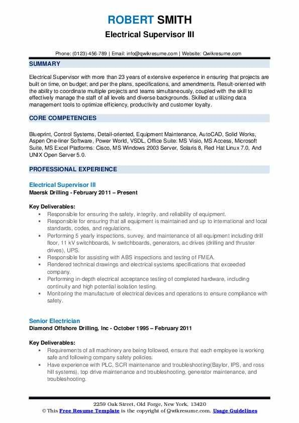 Electrical Supervisor Resume Samples Qwikresume Resume Design Template Business Resume Template Acting Resume Template