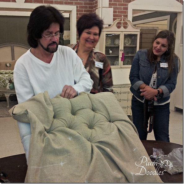 Diamond Tufting Demonstration by Bobs Upholstery- PlumDoodles.com