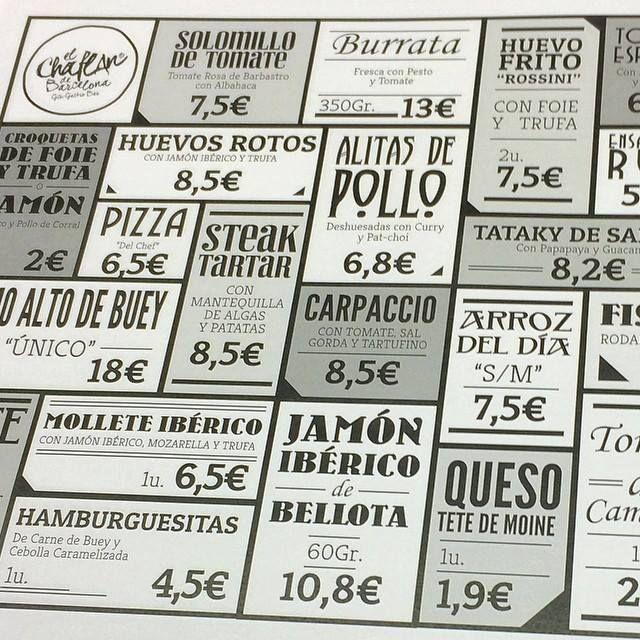 """¡Hoy lunes nuevo diseño! Esta vez la carta menú con los diferentes platos que ofrece el restaurante """"El Chafán de Barcelona""""  http://www.g2disseny.com/"""
