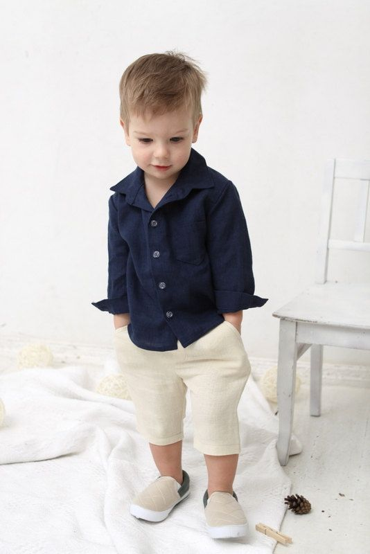 Baby Boy dress shirt Wedding party 1st birthday Baptism Long sleeve navy blue linen shirt Boys clothes Ring bearer shirt