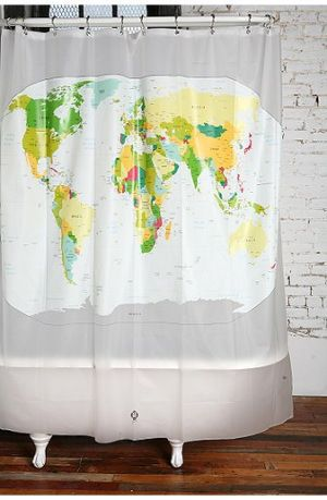 Ten Ace Ways To Use Maps!  (via World map shower curtain)