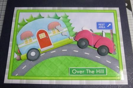 CARAVAN OVER THE HILL topper decoupage on Craftsuprint designed by Janet Briggs - made by Jayne Jones - Printed onto glossy photo paper, I cut out and added the decoupage with foam pads. I then attached to a white card blank and added the greeting.  - Now available for download!