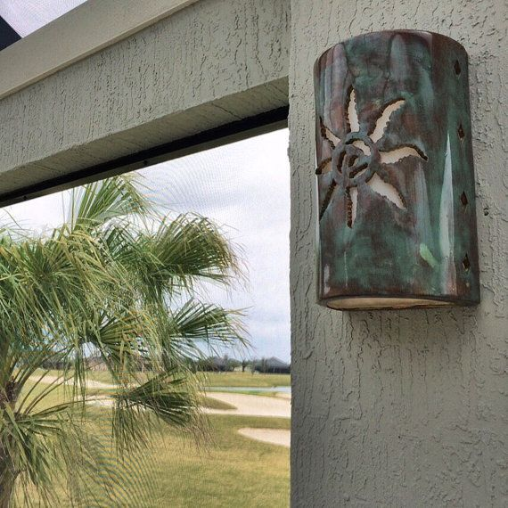 Outdoor Wall Light, Jagged Sun, Southwestern style, handmade to order in New Mexico USA, Wall Sconce, Outside wall light, Custom made, glaze