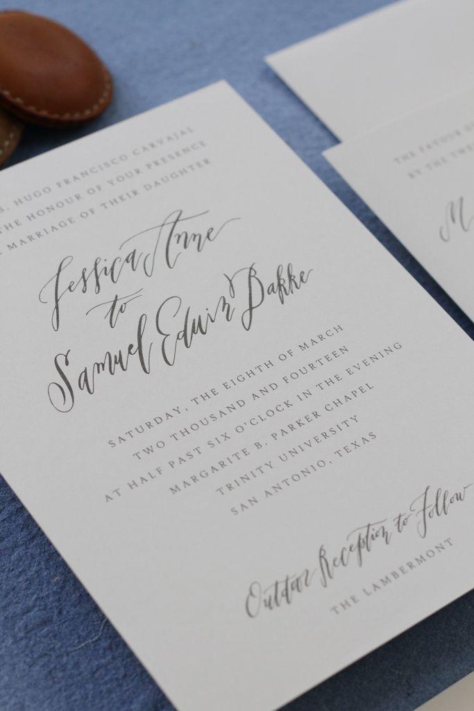 Wedding invitation calligraphy. Carolyn Jane Design.