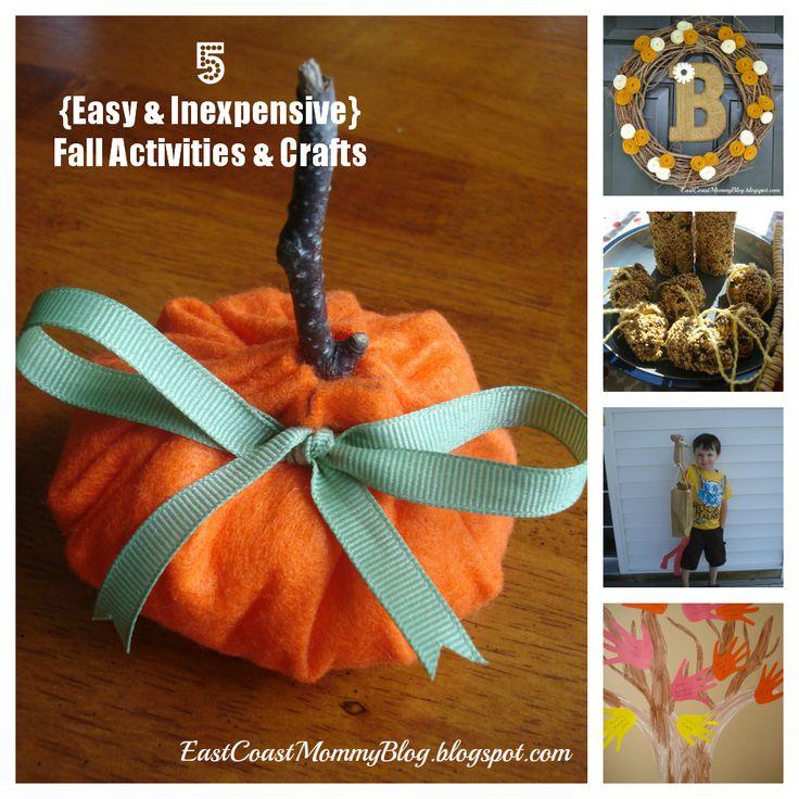 East Coast Mommy: 5 {Easy and Inexpensive} Fall Crafts and ActivitiesEast Coast, Minute Felt, Thanksgiving Ideas, Crafts Ideas, Fall Crafts, Fun, Felt Pumpkin, Coast Mommy, Halloween
