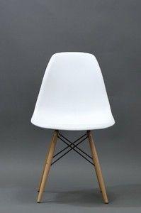 Eiffel Chair - White Plastic Side Chair with Wood Eiffel Legs
