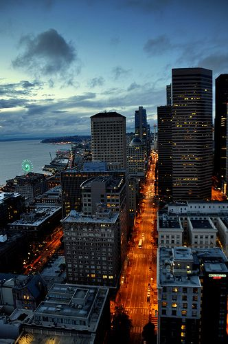 View from Smith Tower observation deck looking north up 2nd Ave with Space Needle on the horizon.