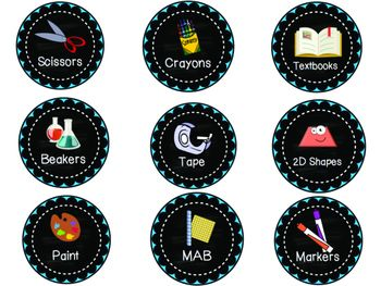 Classroom labels 46 labels to use around your classroom! Ready to print, laminate and use straight away! Use for general stationery/school supplies and some subject-specific labels - especially science and maths.   They each include a graphic, label and a chalkboard background.