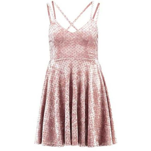 GO GLITTER SPOT Cocktail dress Party dress nude (€31) ❤ liked on Polyvore featuring dresses, polka dot print dress, pink cocktail dress, polka dot dress, polka dot cocktail dress and pink dress