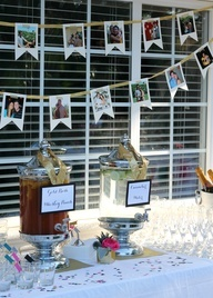 Great idea for engagement party decor.  Pics of the newly engaged couple made into a banner. -- use Instagram pics!