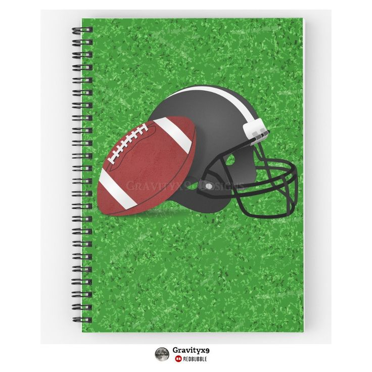 'Football Helmet with Football ' Spiral Notebook by ...