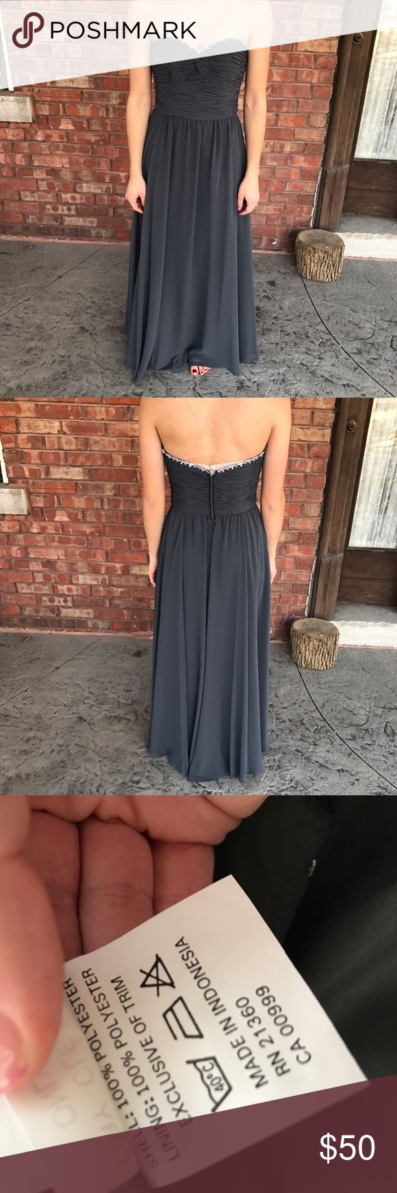 Charcoal Gray Floor Length Bridesmaid Gown Mori Lee by Madeline Gardner bridesmaid's gown or special occasion dress. Worn once in a wedding. Sweetheart neckline with rhinestones across the top. Ruched in the front. Floor length. Mori Lee Dresses Strapless