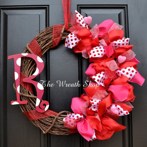Monogram Valentine Wreath - Valentines Day Wreath - Ribbon on Grapevine