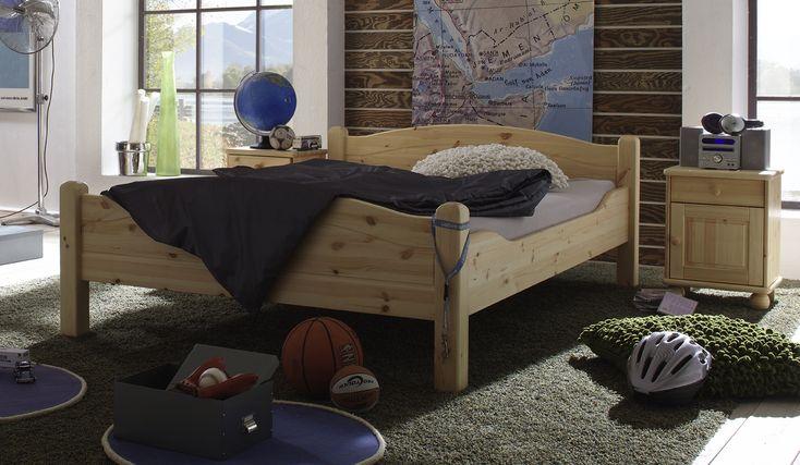 Bett roja aus massiver kiefer von 90x200 cm bis 200x200 for Doppelbett platzsparend