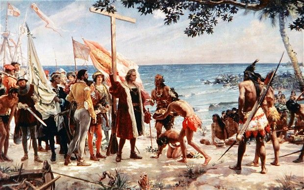 Christopher Columbus arriving at one of the Caribbean islands on his voyage of discovery