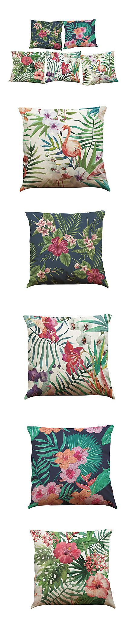 Set of 5 flamingo tropical print linen cushion cases at $17.49. Click on the picture to get them.