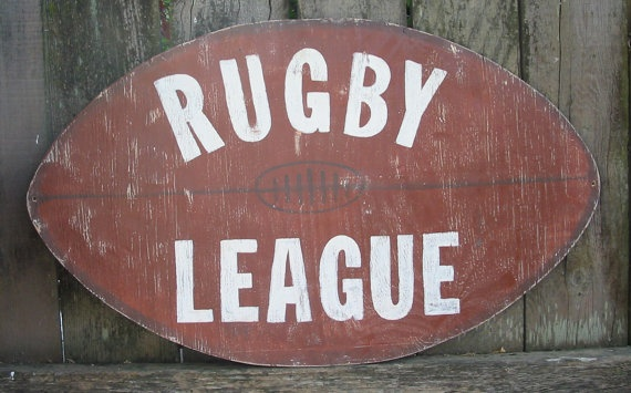RUGBY LEAGUE........Vintage Style Rugby Sign. $35.00, via Etsy.