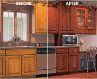 directions for diy glazing over already-stained cabinets