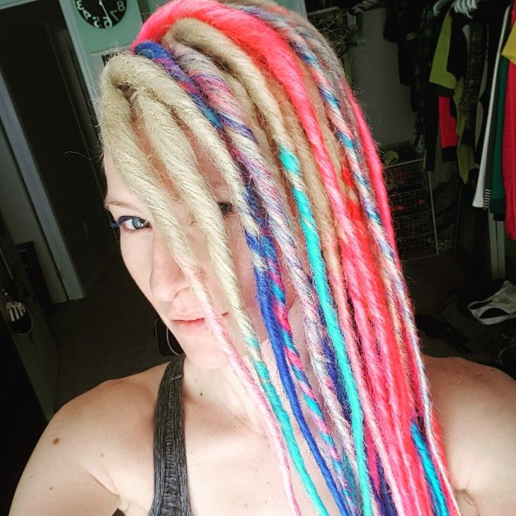 Faux Rainbow Dreadlock Extensions On Caucasian Hair Braids And