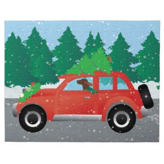 Irish Setter Driving a Car with a tree on top. Puzzles