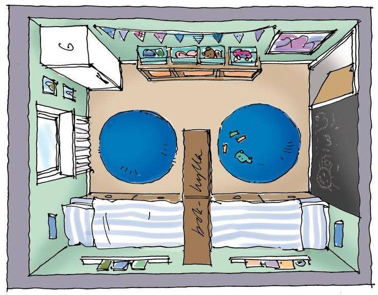 Små barn brukar tycka om att bo tillsammans i ett rum, men ofta vill de ha eget när de blir lite större. Här är några förslag på hur man kan dela ett rum i två mindre.