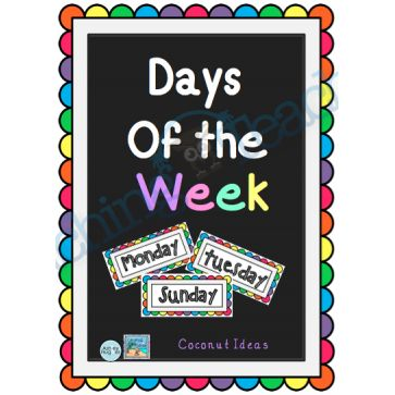 Days of the Week POSTER- Rainbow coloured