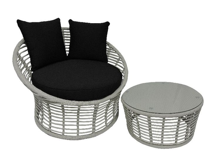 Wicker outdoor chair, Kubu chair and coffee table/ottoman