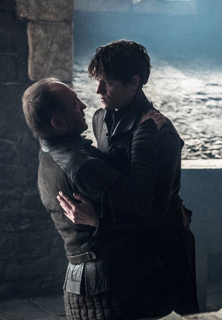"""You will always be my firstborn"". There's a new Bolton heir! Oh, no wait, there isn't. So THAT happened! Ramsay Bolton is one sick puppy. There's a new Warden of the North in town. Roose you idiot! I won't be spilling any tears for you, though. How does a knife in the belly feel? Got a tiny little taste of what Robb felt. One psychotic Bolton down, one to go. Roose Bolton (Michael McElhatton) and Ramsay Bolton (Iwan Rheon). Game of Thrones. ASOIAF"