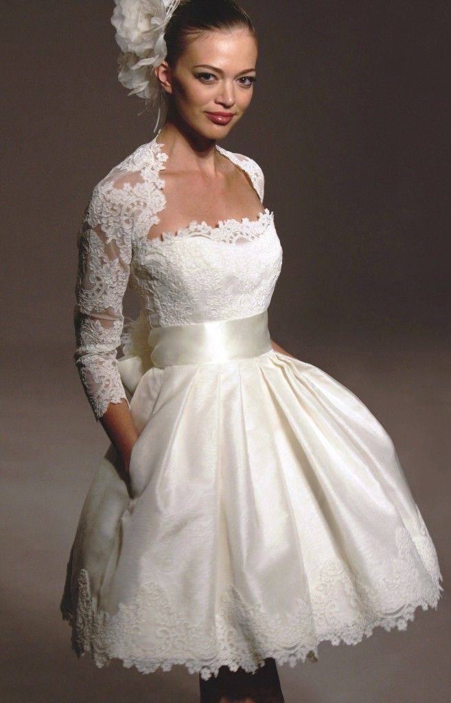 short wedding dresses with sleevesbut i would like it long in the