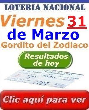 Resultados Gordito del Zodiaco de Marzo Viernes 31 de Marzo del 2017 Loteria Nacional de Panama