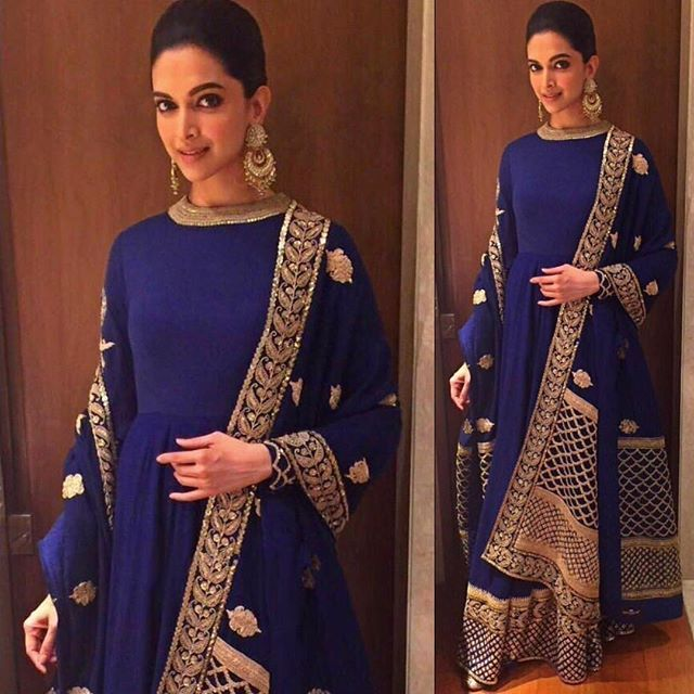 Damnnnnn! Have you seen @deepikapadukone in @sabyasachiofficial?!  Such a beautiful bridal outfit!!! Can you imagine the bride in this at her Reception?  #TDBLoves #indianwedding #sabyasachi #deepikapadukone #weddingoutfit #blueanarkali #anarkali #sabyasachilove #trousseau #weddingtrousseau #indianfashion #celebrityfashion #bestdressedceleb