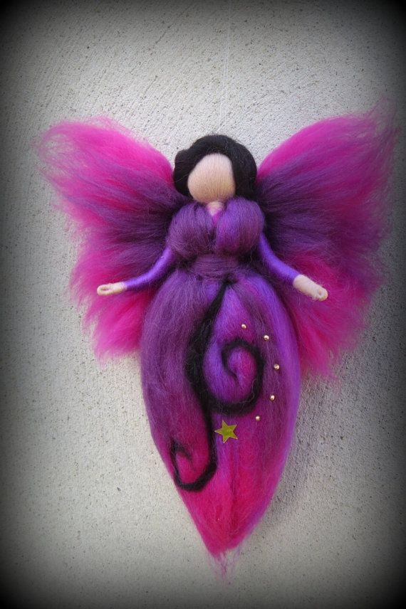 Midnight Felted angel needle felted and waldorf by LivelySheep