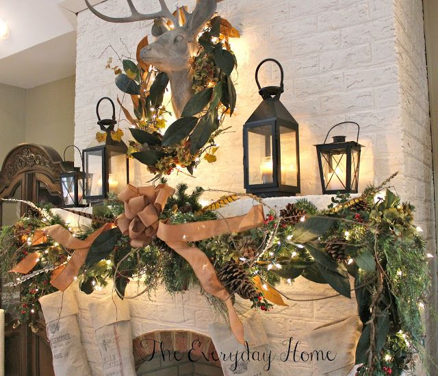 This mantel décor is absolutely stunning! I would expect to see it in a design house! Just gorgeous! From The Everyday Home: A Farmhouse Christmas