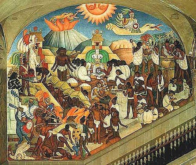 Diego rivera m xico prehisp nico el ntiguo mundo for Mural mexicano