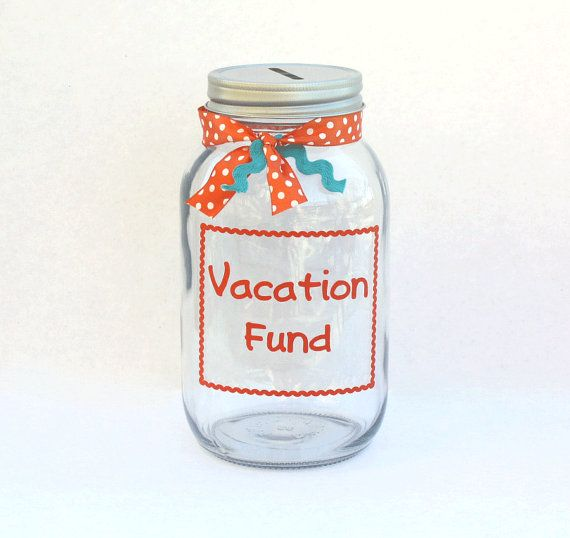 Vacation Fund Canning Jar Bank Vinyl Decal With Ric Rac Frame Quart Sized Vinyls Jars
