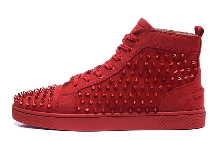 Basket Louboutin Couple Suède Rouge Ongles En Verre Rouge Hautes Chaussures0 #heels
