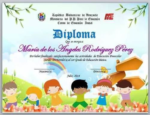 diplomas para graduacion preescolar