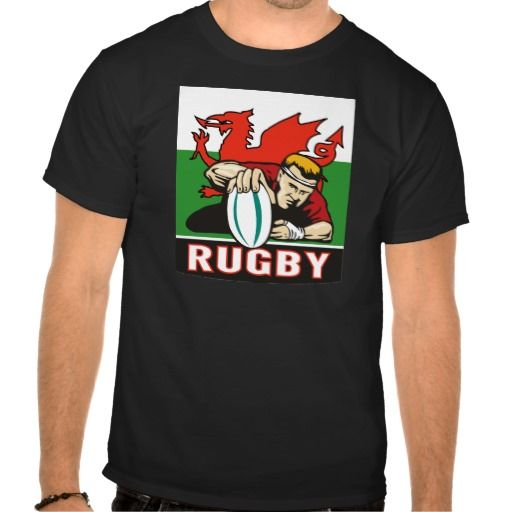 "Rugby player scoring try wales flag t-shirts. illustration of a Rugby player scoring try viewed from front with wales or welsh flag in background and words ""rugby"". #Illustration #Rugby #rwc #rwc2015 #rugbyworldcup"