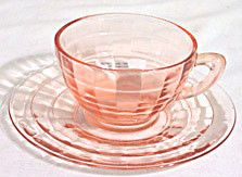 Depression Glass - Anchor Hocking - Block Optic - Pink Cup & Saucer Sets