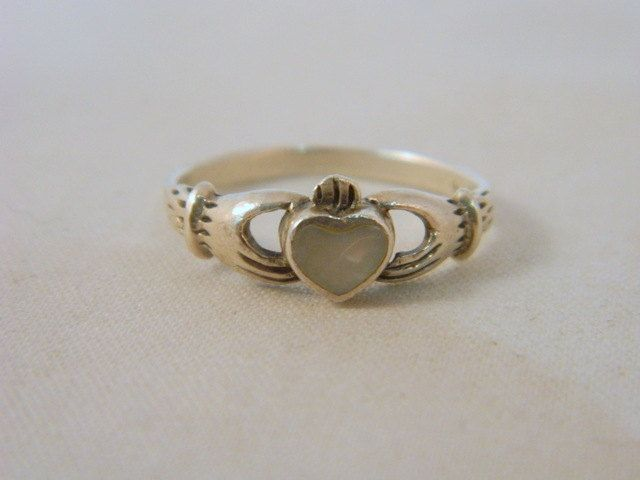 Sterling Silver Claddagh Ring / Vintage Mother of Pearl Promise Ring / Silver Ring / Irish Heart Ring Size 6 by VintageBaublesnBits on Etsy
