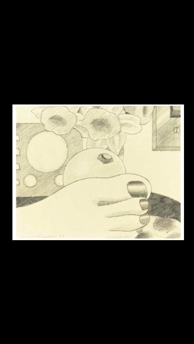 """Tom Wesselmann - """"Study for Bedroom Painting # 3"""", 1968 - Pencil on board - 18 x  26 cm"""