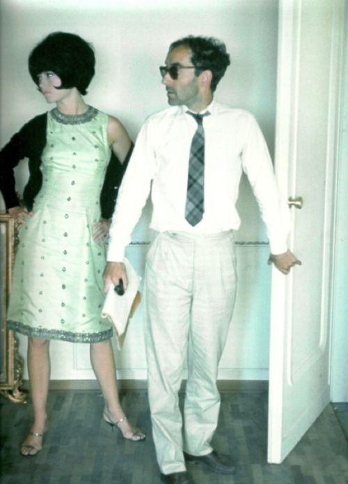 Bardot et Godard on the set of Le Mepris, 1963
