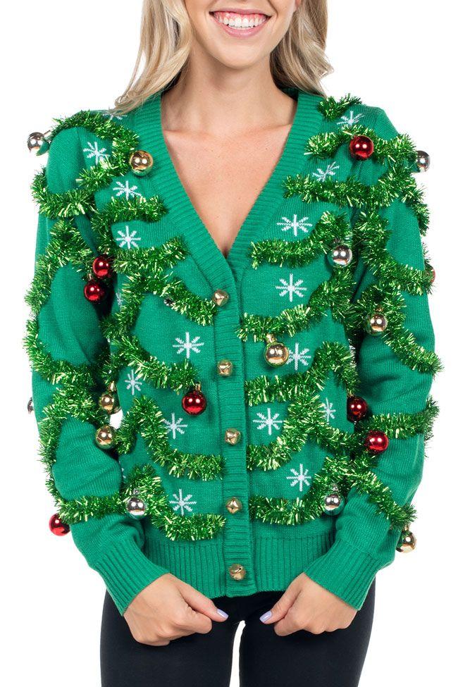 Women\u0027s Gaudy Garland Ugly Christmas Cardigan Ugly Christmas
