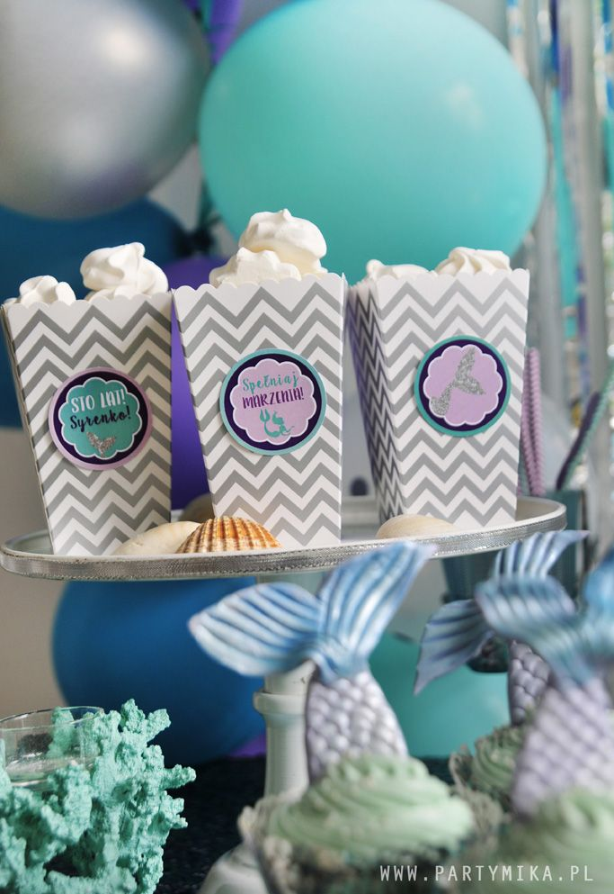 Urodziny Małej Syrenki Mermaid Cake Mini pudełka na popcorn w naszym sklepie!