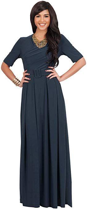 KOH KOH Womens Half Sleeve Elegant Evening Long Maxi Dress with Belt – Dresses