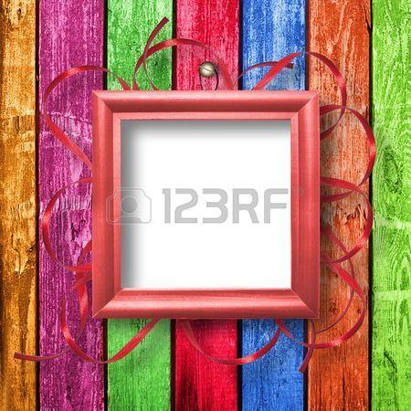 Quadro in legno per la ritrattistica sullo sfondo astratto con nastro  Archivio Fotografico