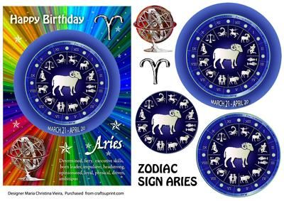 Zodiac Sign Aries Rainbow on Craftsuprint designed by Maria Christina Vieira  - 5x7 Zodiac sign Birthday card front with Pyramage layers .If you cant find a suitable Birthday card...you cant go wrong with a Zodiac sign card! - Now available for download!