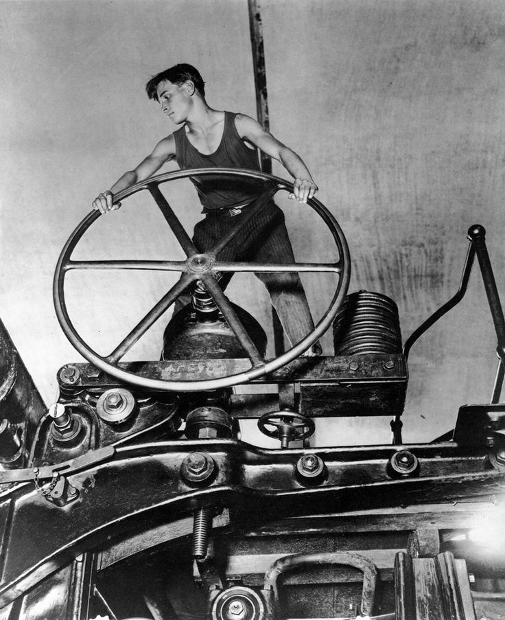 Young communist at the wheel. Pulp and Paper Mill. Balahna. 1931.