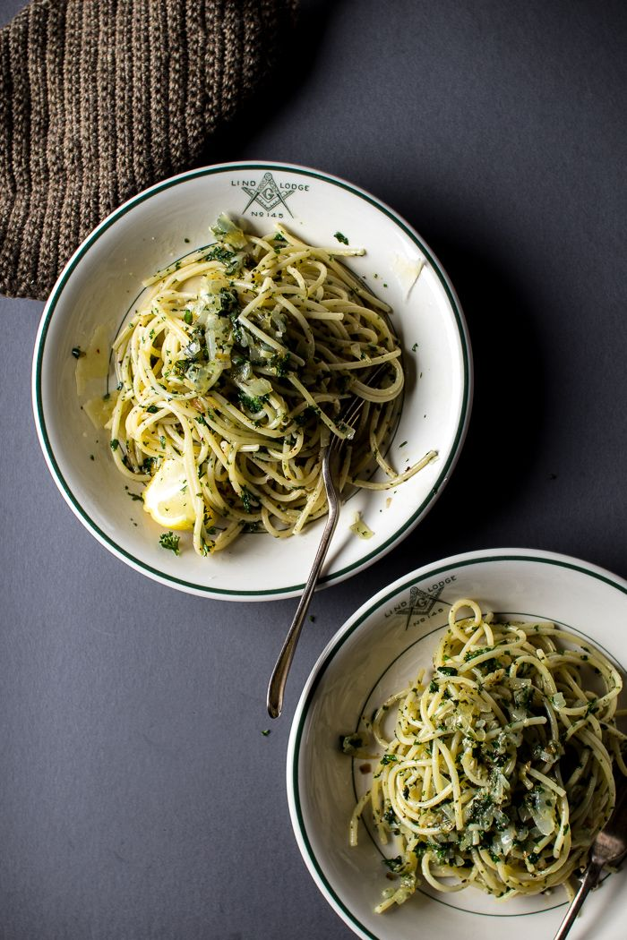 A Simple Olive Oil and Parsley Pasta | Flourishing Foodie