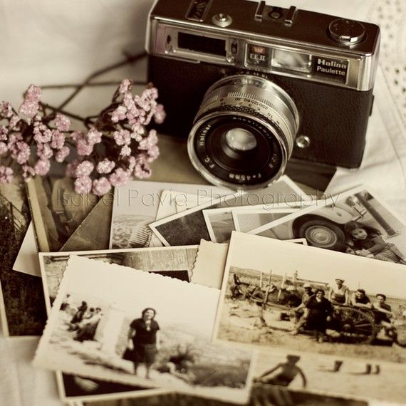 old cameras and black and white photos